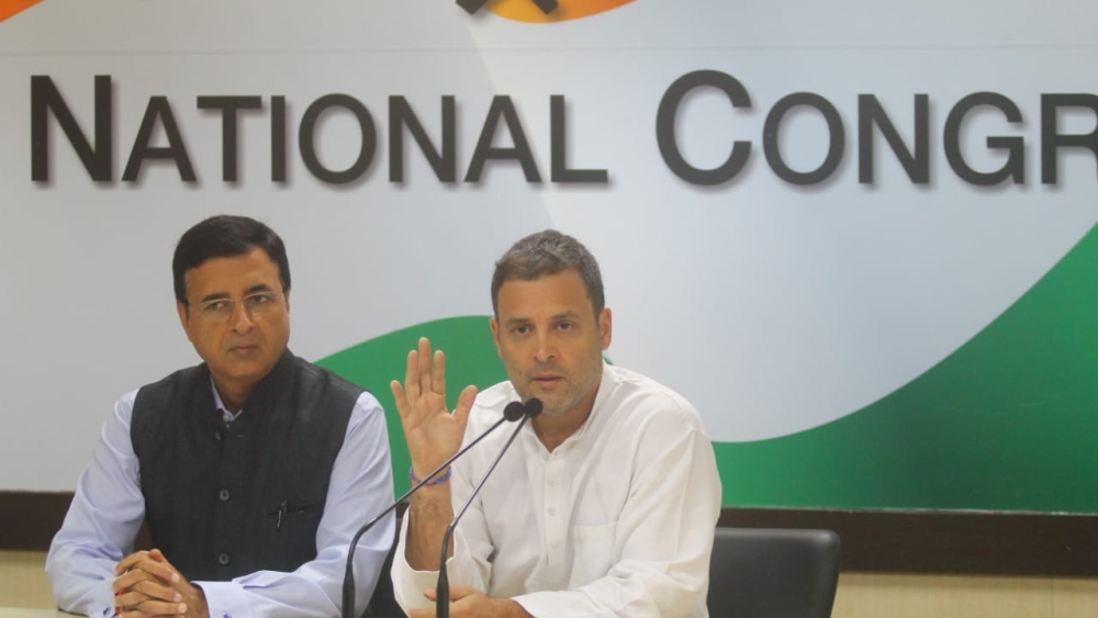 Congress President Rahul Gandhi addressing the media