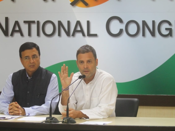 Congress President Rahul Gandhi addressing the media