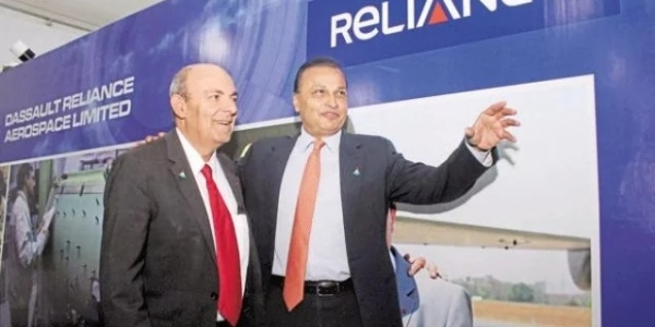 Reliance Group Chairman Anil Ambani with Dassault CEO Eric Trappier