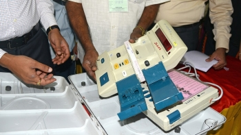 An Electronic Voting Machine (EVM) being inspected ahead of Karnataka Legislative Assembly elections, in Bengaluru on March 5, 2018. Representative image