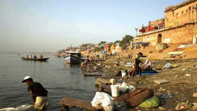Polluted Ganga River bank