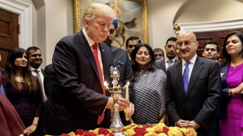 US President Donald Trump during the Diwali celebrations at the White House this week