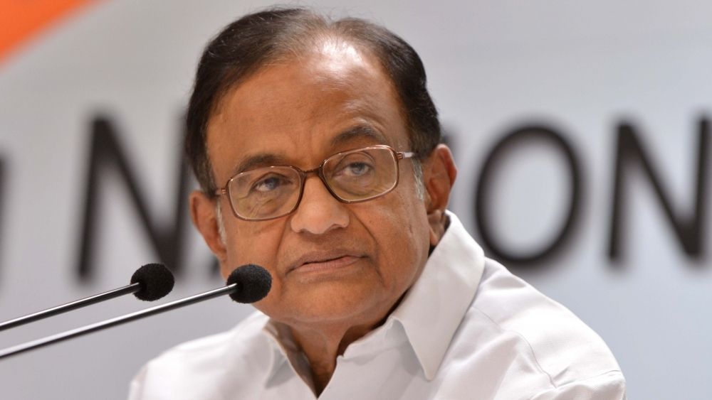 Congress leader P Chidambaram addresses a press conference in New Delhi on Nov. 1, 2018