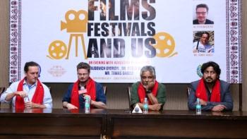 (From left to right) Tamas Gabeli (Festival Director, Budapest Short Film Festival), Peter Muszatics (Hungarian filmmaker) with Indian filmmakers Sudipto Sen and Vinod Kapri