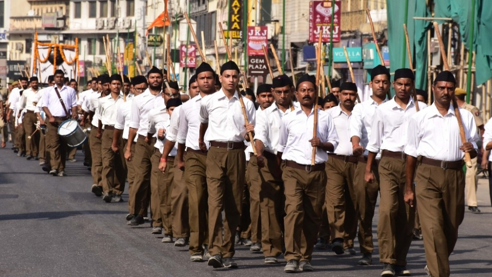 RSS volunteers participate in a route march
