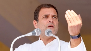 Congress President Rahul Gandhi while addressing the rally in Chattisgarh