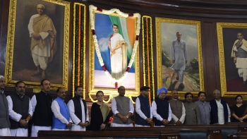 Congress President, Shri Rahul Gandhi, CPP Chairperson, Smt. Sonia Gandhi, former Prime Minister Dr. Manmohan Singh, Shri Ghulam Nabi Azad, LoP Rajya Sabha, Shri Anand Sharma, Deputy Leader Rajya Sabha and other political leaders paying tribute to Smt. Indira Gandhi on her 101st birth anniversary at Parliament House