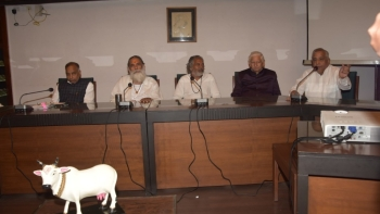 (From left) SP Gupta, Chairman of the Animal Welfare Board of India with seers and Vijay Khurana (right), the convenor of the Rashtriya Gaudhan Mahasangh, at the NMML on Saturday