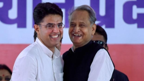 Ashok Gehlot takes oath as Rajasthan Chief Minister and Sachin as Deputy CM
