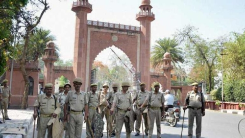 Security beefed up at AMU, sedition case against 12 students