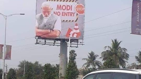 'Modi No Entry' billboards crop up as protests await PM Modi in Andhra Pradesh