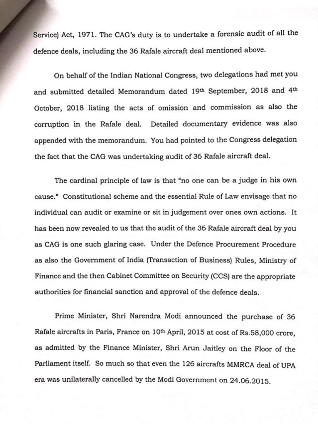 Congress accuses CAG Mehrishi of conflict of interest, demands he recuses himself from Rafale deal report