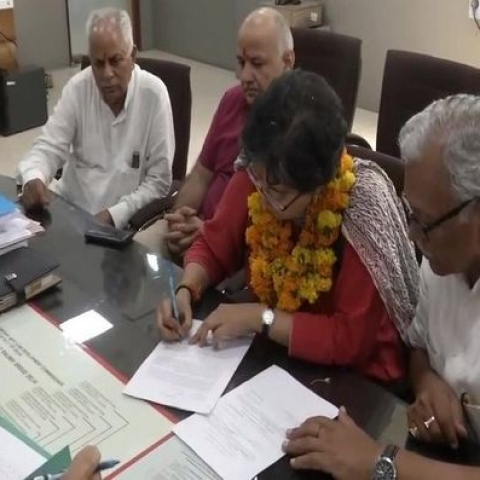 AAP east Delhi's Lok Sabha candidate Atishi filing her nomination (Twitter)