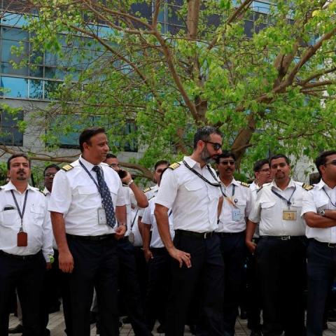 Jet Airways employees protesting (PTI)