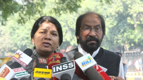 Kanimozhi's residence raided by IT, DMK hits out