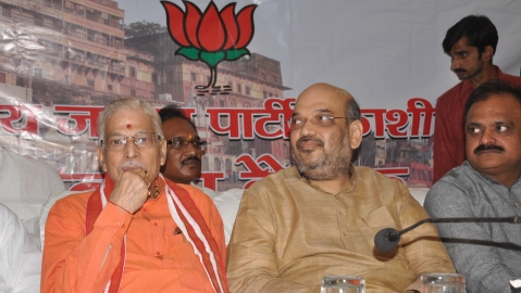 A file photo of senior BJP leader Murli Manohar Joshi and BJP President Amit Shah (PTI)