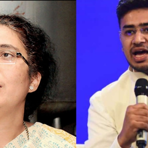 Tejaswini Ananth Kumar and BJP  candidate and RSS leader Tejasvi Surya (nh)