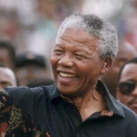 A file photo of South Africa's anti-Apartheid icon Nelson Mandela