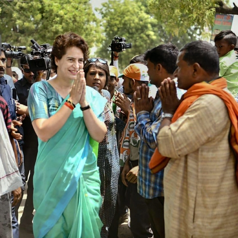 Congress General Secretary Priyanka Gandhi Vadra greets supporters during election campaign for Lok Sabha polls, in Raebareli (PTI)