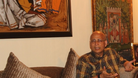 Congress spokesperson Abhishek Manu Singhvi during his interaction with National Herald/ Photo by Vipin