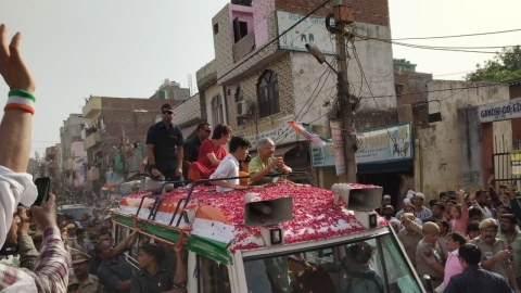 Congress General Secretary Priyanka Gandhi holds roadshow in North East Delhi in support of Sheila Dikshit