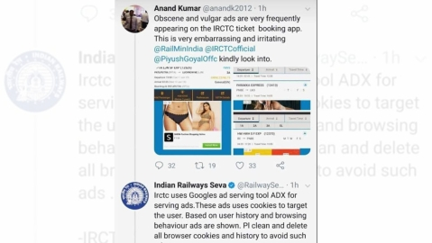 'Clean your browsing history': IRCTC to user complaining of obscene ads