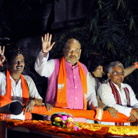 BJP National President Amit Shah during an election roadshow
