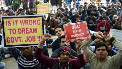 Students protesting the delay in SSC appointment (Twitter)