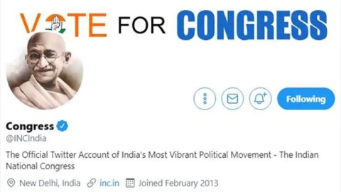Congress switches to Mahatma Gandhi's image on twitter profile