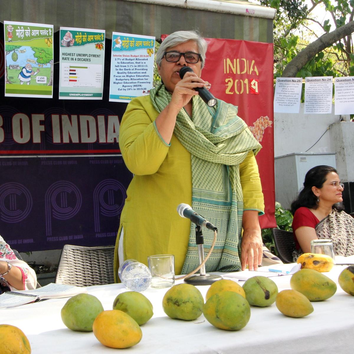 Social activist Shabnam Hashmi addresses a press conference in New Delhi on Monday/NH photo by Vipin
