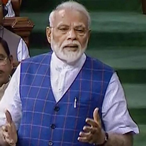 PM Narendra Modi speaking in the Lok Sabha during the motion of thanks on President's address on Tuesday, June 25, 2109.