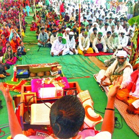 People from both Hindu and Muslim Communities attend a Sri Bhagwat session for communal harmony held at Dargah Ground in Ahmedabad, Gujarat