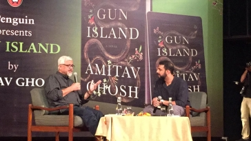 Journalist and author Raghu Karnad in conversation with author Amitav Ghosh at the release of his new book 'Gun Island'