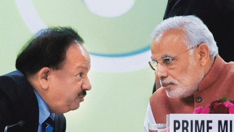 Union Health Minister Dr Harsh Vardhan and Prime Minister Narendra Modi