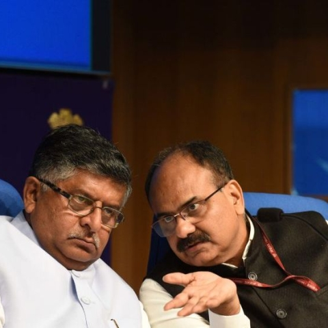 Union Law and Justice Minister Ravi Shankar Prasad (L) with Chief Executive Officer (CEO) of Unique Identification Authority of India (UIDAI) Ajay Bhushan Pandey. A file picture