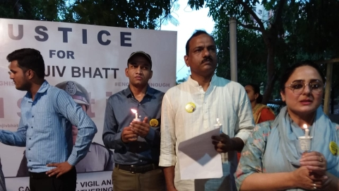 Citizens hold candlelight vigil in support of jailed IPS officer Sanjiv Bhatt