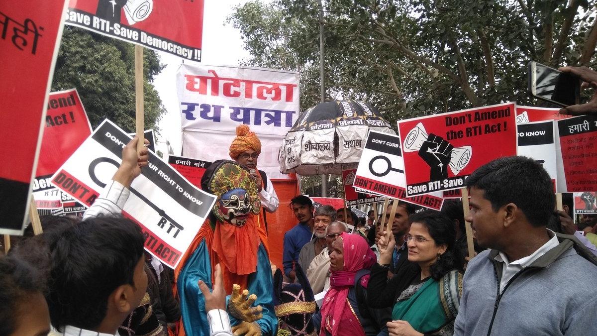 NCPRI co-convenor Anjali Bhardwaj during a protest rally