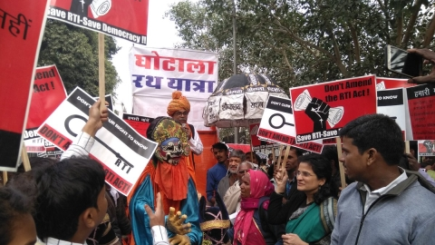 NCPRI co-convenor Anjali Bhardwaj during a protest rally