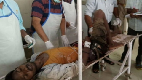 An injured person in the Sonebhadra shoot out.