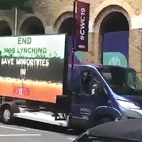 A van with a display board in London, outside the Lord's cricket ground, calls upon Indians to put an end to the unending spate of mob lynchings