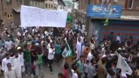 A video grab of the protest in Kashmir on August 9 after Friday prayers.