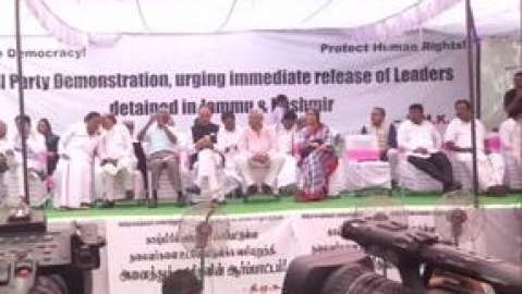 Opposition parties protest, demand release of leaders detained in Jammu and Kashmir