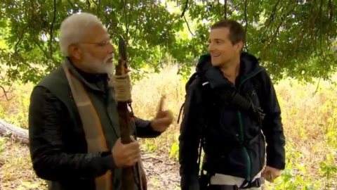 Bear Grylls with PM Narendra Modi in the Corbett tiger resreve.