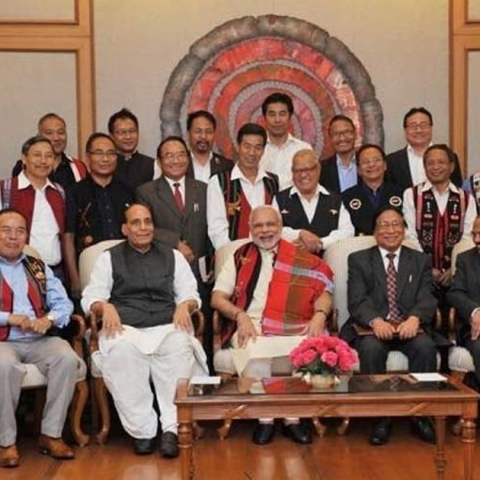 Prime Minister Narendra Modi and then Home Minister Rajnath Singh with Naga leaders after signing the framework for Naga peace agreement in 2015. (PTI photo).