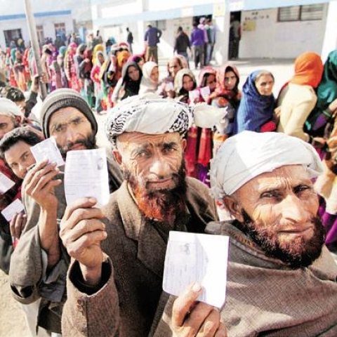 A file photo of voters in Kashmir.