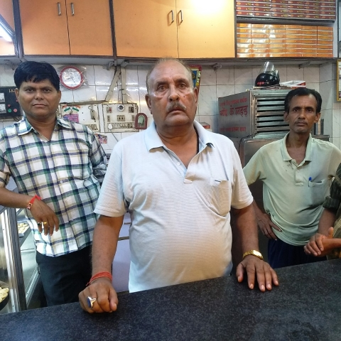 Darshan Singh, the owner of a sweet shop in Lucknow which was raided by the officials of Municipal Corporation
