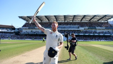 A jubilant Ben Stokes after England beat Australia by one wicket in the third Test at Headingley on Aug 25. (Photo courtesy: ICC)