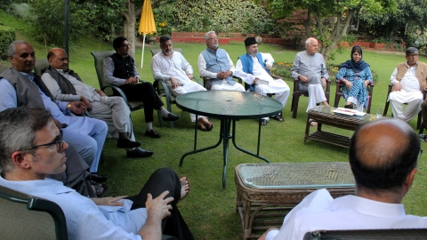Kashmir's prominent political leaders met at National Conference president Farooq Abdullah's residence in Srinagar to discuss the current situation in Kashmir on Sunday, Aug. 4, 2019. (PTI Photo).