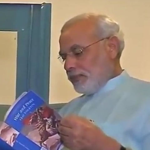 PM Modi flipping through Leo Tolstoy's 'War and Peace'