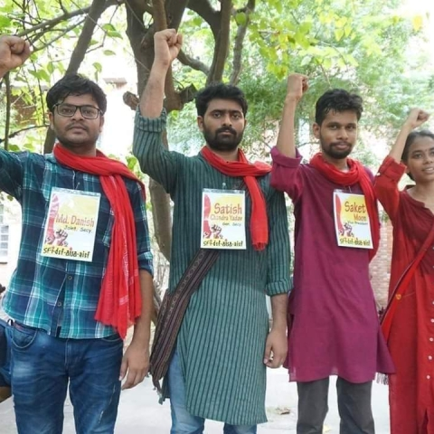 The victorious candidates of JNUSU (photo courtesy: Social media)